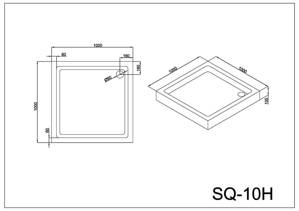 Поддон Black & White SQ-10H