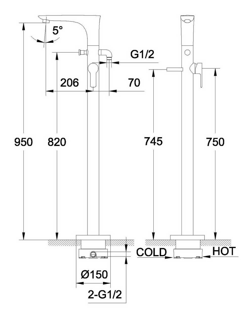 Чертеж напольного смесителя OLS-K1601