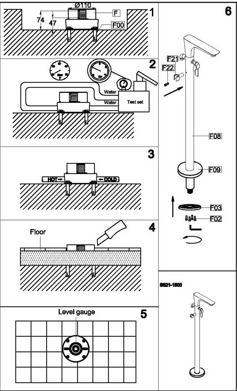 Монтажная схема напольного смесителя OLS-K1601