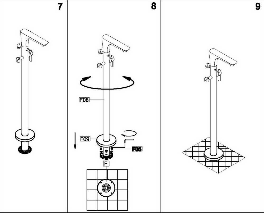 Монтажная схема напольного смесителя OLS-K1601.