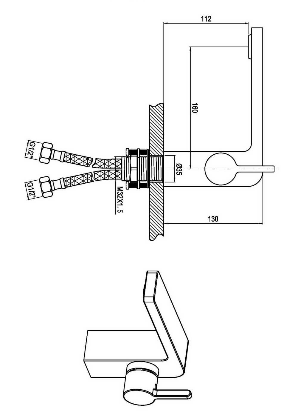 Чертеж смесителя OLS-K1065