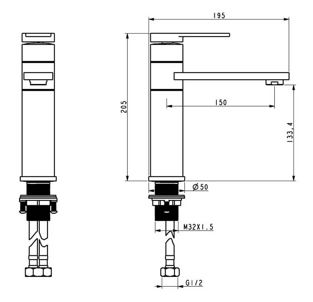 Чертеж смесителя OLS-K1088