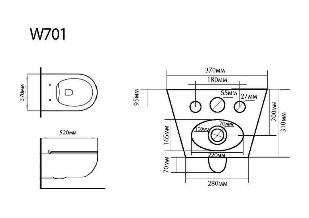 Чертеж подвесного унитаза W701