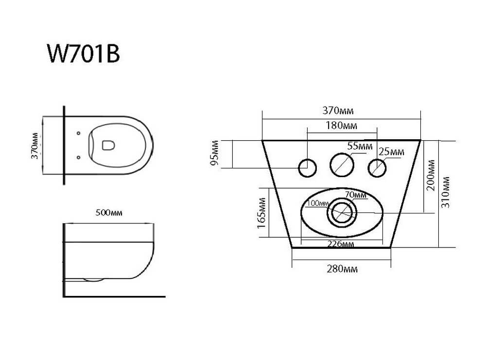 Подвесное биде Black & White W-701B чертеж
